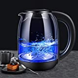 Electric Kettle, FITMAKER Electric Kettle Cordless Glass Cordless Fast 1.7 Liter Cordless with LED Indicator Light Hot Water Dispenser (BPA Free)