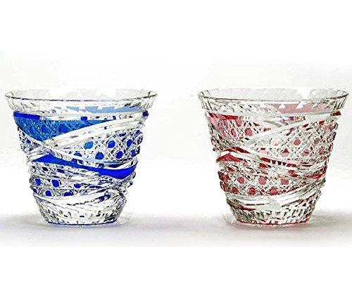Japanese Paired Sake Cup of Edo-Kiriko (Cut Glass) Hakkaku-kagome (Octagon)