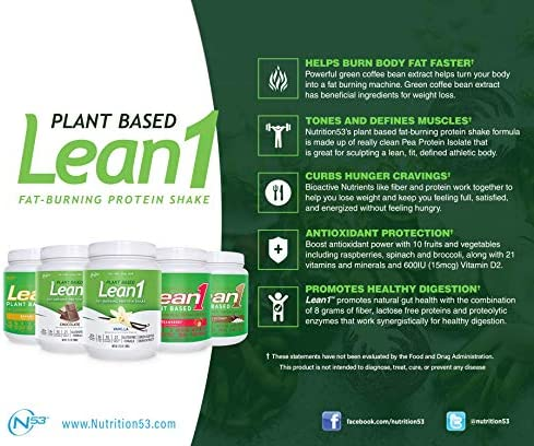 LEAN1 Nutrition 53 Meal Replacement Powder for Weight Loss, Fat Burner, Appetite Control, Plant Based Chocolate (31.7 Ounce) 4