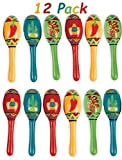 "Mini Wooden Maracas Mexican Fiesta Cinco de Mayo Party Favor, Great for Decorations, Noisemaker Toys, 4 Different Styles, Bright Colors, Pack of 12, 5"" For Kids, Boys, Girls, By 4E's Novelty"
