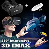 TSANGLIGHT 3D VR Headset with Remote New Virtual Reality Goggles, VR Glasses Movie Video Game Viewer for iPhone & Android 4.0-6.0' Smartphones Like iPhone X 8 7 6 Plus Samsung S8 S7 S6 Edge, Black
