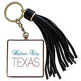 3dRose Alexis Design - American Cities Texas - Haltom City, Texas, red, blue text. Patriotic home town design - Tassel Key Chain (tkc_301589_1)