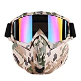 Ehonestbuy Detachable UV Protective Motorcycle Goggles Mask Anti-Fog Protective Ski Goggles, Adjustable Windproof Outdoor Paintball Airsoft Mask Face Shield for Kids Youth Men Women (Camouflage)