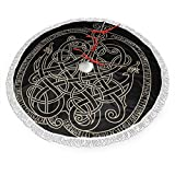 WUHONGLS Ancient Decorative Dragon in Celtic Style Fringed Christmas Tree Skirt Classic Holiday Decorations 30 36 48 Inc,Christmas Tree Skirt Gold Red for Party Holiday Decorations Xmas Ornaments