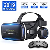 [ 2019 New Version ] Upgraded & Lightweight Virtual Reality Headset with Stereo Headphone,Eye Protected HD Vr Headset with Remote Controller for 3D Movies and Games, (Black)