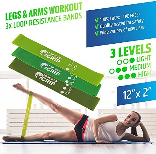 HerculesGrip Ab Wheel Roller, Adjustable Jump Rope, 2x Dual Sided Gliding Discs & 3x Loop Resistance Bands 4-In-1 Home Gym Total Body Workout Equipment Set -For Core, Cardio, Abs, Legs & Arms Training 7