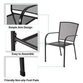 AECOJOY-5-Piece-Patio-Metal-Dining-Set-Outdoor-Metal-Dining-Table-Set-with-Round-Table-173-Umbrella-Hole-and-4-Stackable-Arm-Chairs-Patio-Dining-Bistro-Set-for-GardenBistroDeckDark-Gray