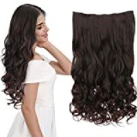 """REECHO 20"""" 1-pack 3/4 Full Head Curly Wave Clips in on Synthetic Hair Extensions Hair pieces for Women 5 Clips 4.6 Oz Per Piece - Dark brown"""