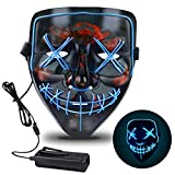 Halloween Mask, Light Up LED Halloween Mask with 3 Light Modes Scary Mask for Halloween Costumes, Cosplay, Festival, Party Ideal or Men, Women, and Kids Comfortable All Night Wear Black