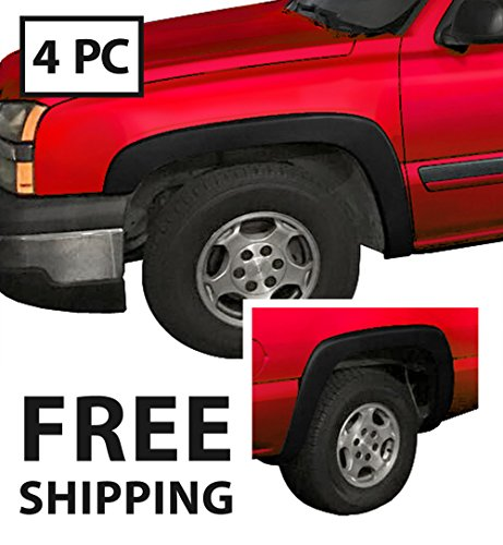 Premium Fender Flares for 1999-2006 Chevy Silverado/GMC Sierra (Incl. 2007 Classic Models) | Fine-Textured Matte Black Paintable Factory Style 4pc