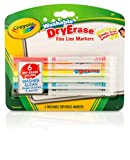 Crayola Washable Dry-Erase Fine Line Markers, 6 Classic Colors Non-Toxic Art Tools for Kids & Toddlers 3 & Up, Easy Clean Up, Won't Stain Hands or Clothes, Great for Classrooms - 98-5906