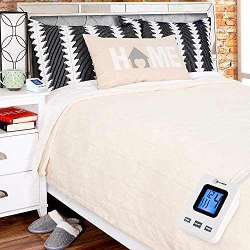 SimplyWarm Electric Heated Polar Fleece Blanket with Sensor-Safe Overheat Technology – New for 2018 HIGH TEC Digital Controller (Ivory, Twin w/Single Controller)
