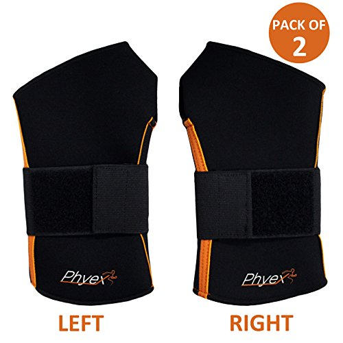 Phyex 2 Pack Strong Support Adjustable Wrist Wraps Straps Braces - Best for Weight Lifting, Loading Freight, Relieve Wrist Pain, Sprains, Carpal Tunnel (L, Left & Right)
