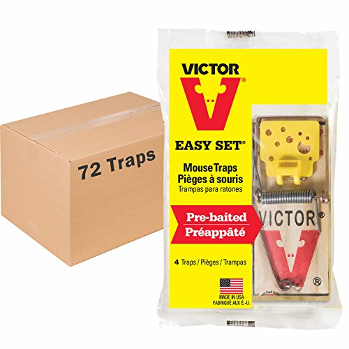 Victor Easy Set Mouse Trap - 18 Pack (72 Total Traps)
