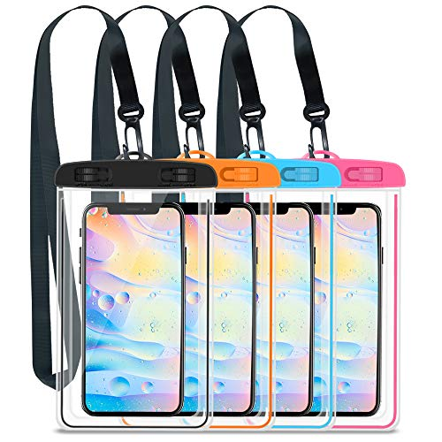 GLOUE Waterproof Case Universal Waterproof Phone Bag Pouch Drg Bag for iPhone Xs Max/XS/XR/X/8, Galaxy S9/S9P/S8/Note 9/8, Google/HTC up to 6.5' -4 Pack(Pink,Blue,Orange,Black)