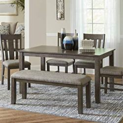 Lane Home Furnishings 6-Pc Set (Table, 4 Chairs, Dining Bench), 6pc Grey