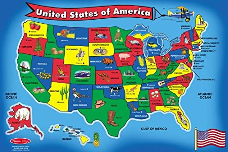 Melissa & Doug USA Map Floor Puzzle (51 pcs, 2