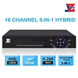 JZTEK 16ch 1080N Hybrid 5-in-1 AHD DVR (1080P NVR+1080N AHD+960H Analog +TVI+CVI) CCTV 16 Channel Standalone dvr Quick QR Code Scan w/Easy Remote View Home Security Surveillance Camera System