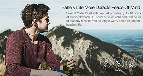 51YE3D%2BYBeL Syl Plus Lvl U Bluetooth Wireless Earphones 4.1 with Mic in-Ear Stereo Sport Neckband Headsets with Back Button for All Andriod & iOS Smart-Phone (Blue) (Blue)