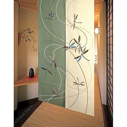 Matsumoto Shoji noren(Japanese curtain) Flying Dragonfly Green from Japan 11775