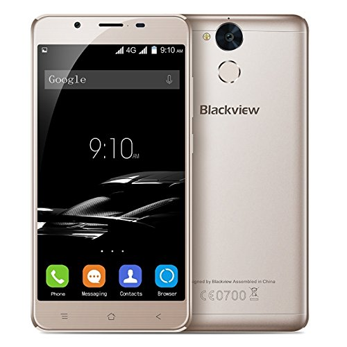Blackview P2 64GB 5.5 Inch Android 6.0 Smartphone, MTK6750T Octa Core up to 1.5GHz, 4GB RAM GSM & WCDMA & FDD-LTE (Gold)