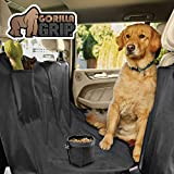 Gorilla Grip Original Premium Slip-Resistant Pet Car Seat Protector for Pets, Free Dog Bowl, Durable Protectors for Cars, SUV, Underside Grip, Waterproof, Seat Belt Openings, Pocket, Hammock: Black