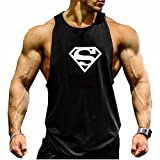 TECOFFER Men's BodyBuilding Tank Tops Superman S Logo Stringer Gym Fitness Vest (Black, M)