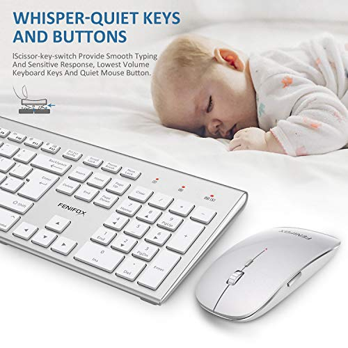 51YFynVk0hL - FENIFOX Wireless Keyboard & Mouse, Dual System Switching Double Ergonomic 2.4G USB QWERTY Full Size UK Layout for Computer PC Mac imac Laptop Windows 10 8 7 Xp (Silver & White)