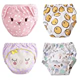 U0U 4-Pack Training Pants for Toddler Girls, Baby Girls Cotton Potty Training Underwear, Waterproof,Adorable and Washable (Purple,Yellow,White,Pink, 3T)
