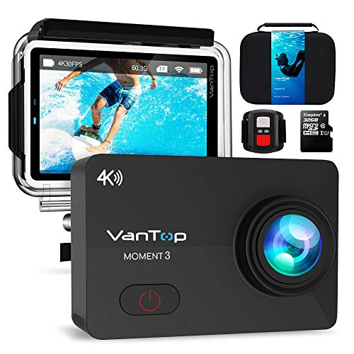 VanTop Moment 3 Action Camera Gen2, 4K 16MP Sony Sensor WiFi Waterproof Action Camera w/Gopro Compatible Case, 32GB TF Card, Remote Control, Gopro Compatible Accessories, 2 Batteries, 170° Wide Angle