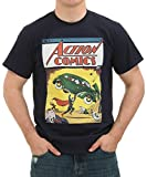 Men's Comic Book Shirt - Superman Tshirt - Great Comics & Super Hero Shirt for Comicon! Vintage Style Comic Book T-shirt (Large, Superman Comic Book Theme in Navy)