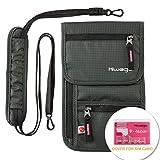 hiwego Travel Neck Pouch Hidden Passport Holder Wallet RFID Blocking/Neck Stash for Men Women (Dark Grey)