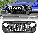 American Modified Matte Black Shark Grill for 2018-2019 JL JLU Jeep Wrangler Accessories & Unlimited Sahara Sport