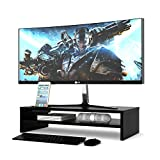 1home Wood Monitor Stand Arm Riser Desk Storage Organizer, Speaker TV Laptop Printer Stand with Cellphone Holder and Cable Management, 21.3 inch 2 Tiers Shelves Black