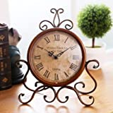 ECVISION European Style Retro Antique Retro Vintage-Inspired Wrought Iron Craft Table Clock For Hall,Shoe Cabinet,Restaurant,Bedroom Nightstand,Dresser,Garden Home Decor Desk Clock (Retro)
