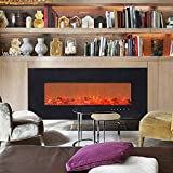 ART TO REAL 50'' Electric Wall Mounted Fireplace Heaters with Remote and Timer, 5 Realistic Flame, 1500/750 Watt Heater, Ceramic Firewood Log Inserts, Tempered Glass Touch Screen