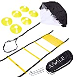 Speed and Agility Training Set - Includes Agility Ladder, 6 Disc Cones, Resistance Parachute, 4 Steel Stakes and a Drawstring Bag - For Speed, Coordination, Footwork, Explosiveness, Black, Yellow