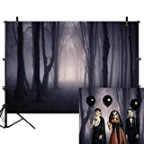 Allenjoy 7x5ft Misty Dark Forest Woods Halloween Backdrop for Photography Gloomy Grove Mystery Vampire Background for Portrait Magic Witch Wizard Sorcerer Ghost Themed Party Banner Decors Photo Props