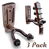 Guitar Wall Mount, Black Walnut Guitar Wall Hanger, Guitar Hook Stand Accessories for Acoustic Electric Bass Ukulele Guitar Holder (3 Pack)