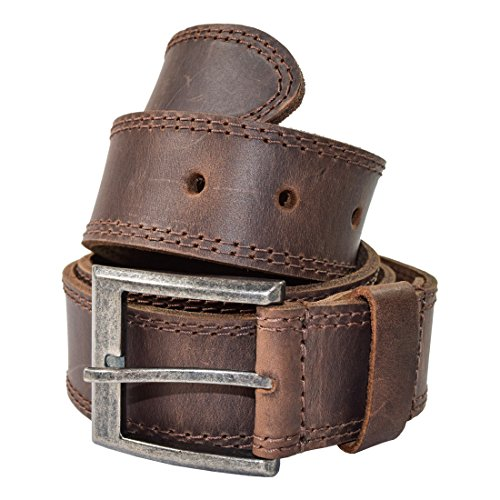 Men's Two Row Stitch Leather Belt Handmade by Hide & Drink :: Bourbon Brown (Size 40)