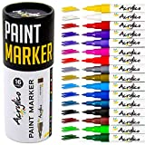 Acrylico Markers Multi Surface Premium Pack   Set of 16 Vibrant Colors Acrylic Paint Pens   Extra-Fine Tip, Opaque Ink