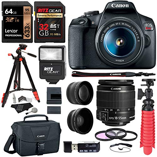 Canon-EOS-Rebel-T7-24MP-Camera-with-EF-S-18-55mm-is-II-Lens-2-Memory-Cards-Slave-Flash-57-Tripod-Camera-Bag-Cleaning-Kit-Memory-Card-ReaderWriter-Bundle