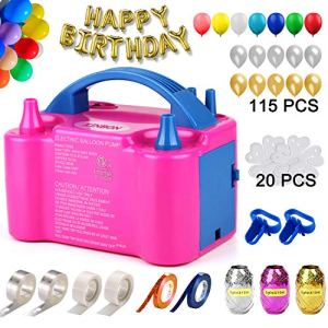 160 Pcs Balloon Pump KINBON Electric Portable Dual Nozzle Electric air Balloon Blower Pump, Electric Balloon Inflator for Party Birthday Wedding Festival(Rose Red 110V 600W) 51YQn2pir3L