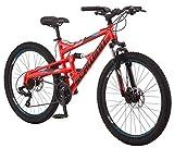 Schwinn Protocol 1.0 Dual-Suspension Mountain Bike with Aluminum Frame, 26-Inch Wheels, Red/Blue