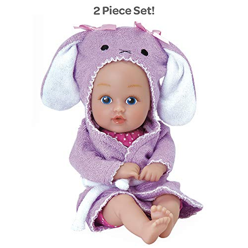 Adora BathTime Baby Tot 'Bunny' small 8.5 Inch washable BathTub Water Safe Soft Body Vinyl Fun Play Toy Doll for Boy or Girl Children and Toddlers 1 Year Old and up