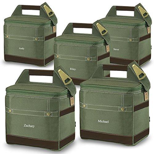 Personlized 12-Pack Khaki Cooler Tote - Custom Cooler Bag - Personalized Cooler Bag - Monogrammed Cooler Tote - Set of 5