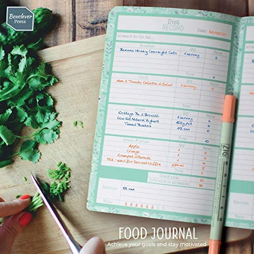 Boxclever Press Food Journal for a Healthier Lifestyle. Food Diary and Food Journal Log Book. Portable Daily Planner to Use with Weight Watchers, Diets or Personal Training Plans. (Turquoise Bloom) 5
