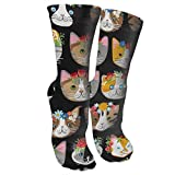 Whiskers & Tails Dressy Kitty CATS Crew Socks Cotton Moisture Wicking Sport Fitness Travel Athletic Running Printed Casual