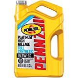 Pennzoil Platinum High Mileage Motor Oil 5W-30, 5 Quart - Pack of 1