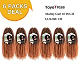 ToyoTress 6 Packs 18 inch Ombre Marley Braid Hair Afro Malrey Twist Braiding Hair 100% Kanekalon Synthetic Marley Braids Crochet Braiding Hair (18', T30)